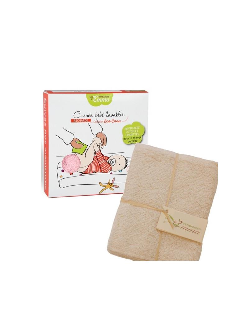 5 carrés bébé lavables Eucalyptus