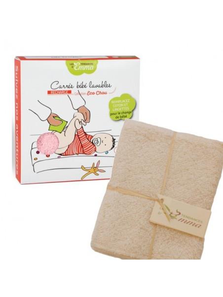 5 carrés bébé lavables coton bio biface