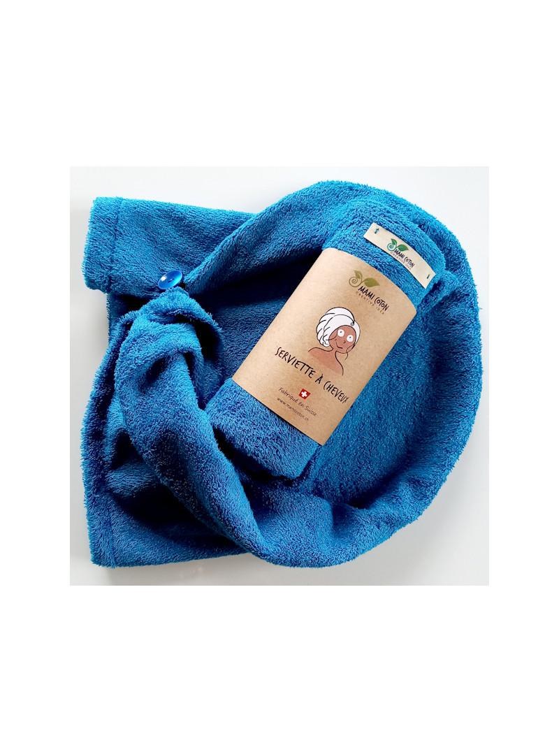 Serviette pour les cheveux mami coton bleu lagon