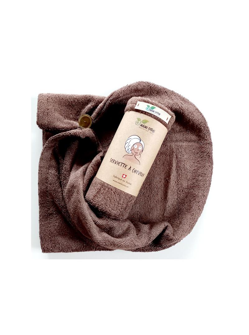 Serviette pour les cheveux mami coton marron