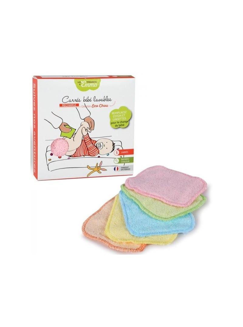 5 carrés bébé lavables couleur - bambou